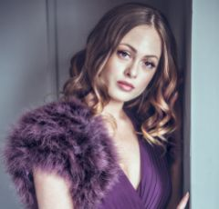 Sophia Grape Feather Bridal Bolero