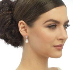 Graceful Crystal and Pearl Wedding Earrings (Silver)