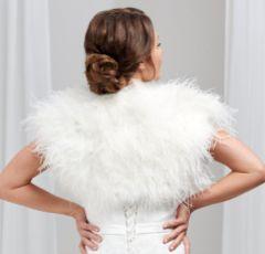 Hayworth Ivory Ostrich Feather Bridal Bolero