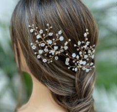 Hermione Harbutt Violette Mother of Pearl Flowers Hair Pins