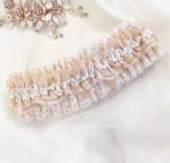 Honesty Blush and Ivory Lace Luxury Bridal Garter