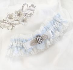Infinity Blue and Ivory Lace Garter with Crystal Embellished Bow