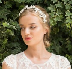 Ivory and Co Anoushka Vine of Silver Enamelled and Crystal Embellished Leaves Headpiece
