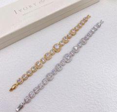 Ivory and Co Belize Square Crystal Wedding Bracelet (Gold)