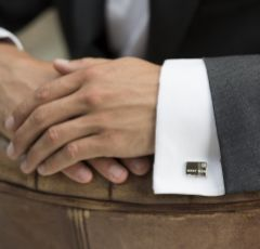 Ivory and Co Best Man Cufflinks with Crystal Detail