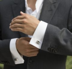 Ivory and Co Groom Cufflinks with Crystal Detail