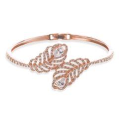 Ivory and Co Long Island Rose Gold Crystal Embellished Feather Bracelet