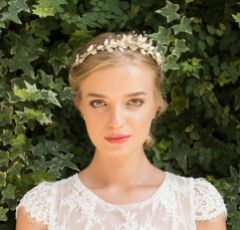 Ivory and Co Olympia Gold Enamelled Flowers and Leaves Side Headpiece
