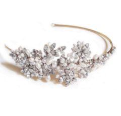 Ivory and Co Safiya Gold Crystal Blossom and Pearl Headband