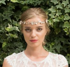 Ivory and Co Sienna Rose Gold Enamelled Blossoms Wedding Hair Vine