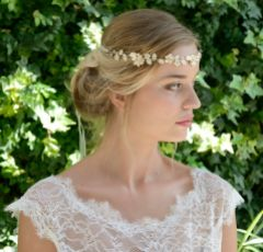Ivory and Co Solstice Golden Enamelled Blossoms Wedding Hair Vine