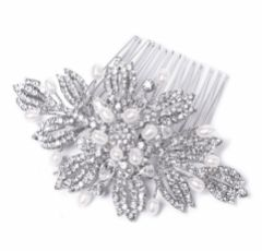 Ivory and Co Ursula Pearl and Crystal Floral Bridal Hair Comb