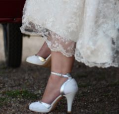Lindsey May Elena Ivory Lace and Leather Ankle Strap Shoes with Silver Trim