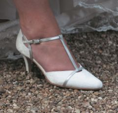 Lindsey May Sophia Ivory Lace and Silver Leather T-Bar Shoes