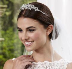 Linzi Jay Crystal Embellished Leaves Bridal Tiara LT639