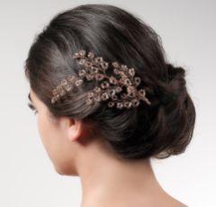 Lysette Rose Gold Beaded Wedding Hair Clip