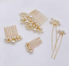 Macie Set of 5 Gold Mini Combs and Pins