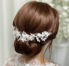 Marianna Ivory Flowers and Lace Bridal Headpiece