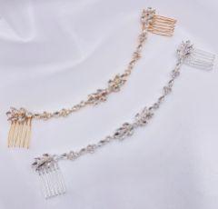Melody Silver Draped Crystal Wedding Headpiece