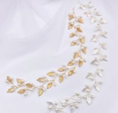 October Silver Leaves and Pearls Long Wedding Hair Vine