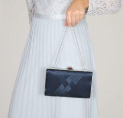 Perfect Bridal Bay Navy Criss Cross Satin Clutch Bag