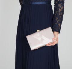 Perfect Bridal Bay Taupe Criss Cross Satin Clutch Bag