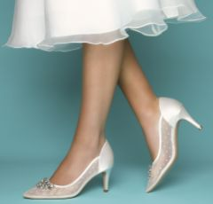 Perfect Bridal Becky Ivory Polka Dot Mesh Pointed Court Shoes