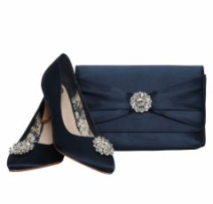 Perfect Bridal Cerise Navy Satin Clutch Bag with Crystal Trim