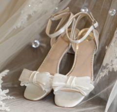 Perfect Bridal Chloe Ivory Polka Dot Mesh Low Block Heel Sandals