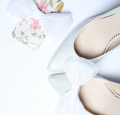 Perfect Bridal Daphne Ivory Organza Bow Shoe Clips