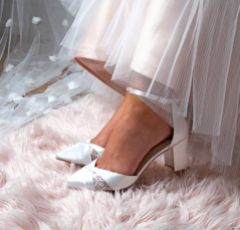 Perfect Bridal Kerry Dyeable Ivory Satin and Lace Block Heel Ankle Strap Court Shoes