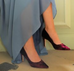 Perfect Bridal Mya Berry Crushed Velvet Pointed Court Shoes