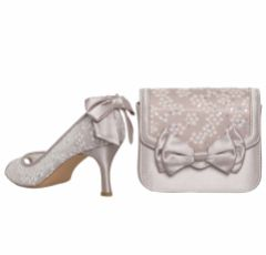 Perfect Bridal Pepper Taupe Satin and Sequin Lace Clutch Bag with Bow Detail