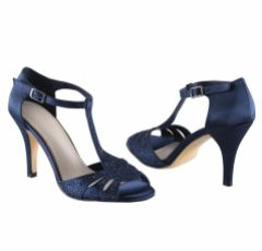 Perfect Bridal Perla Navy Crystal Embellished T-Bar Sandals