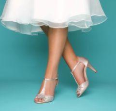 Perfect Bridal Perla Nude Crystal Embellished T-Bar Sandals