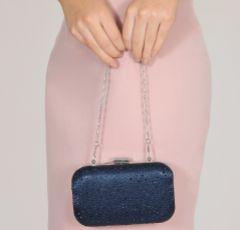 Perfect Bridal Sammy Navy Crystal Studded Clutch Bag