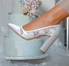 Perfect Bridal Skyla Dyeable Ivory Satin and Lace Block Heel Court Shoes