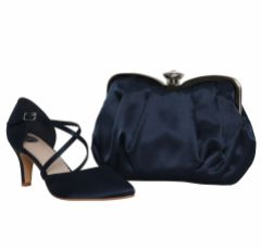 Perfect Bridal Sonya Navy Satin Mid Heel Courts with Crossover Straps