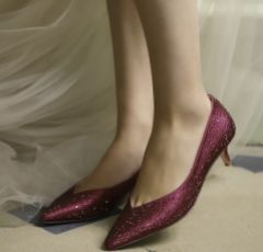 Perfect Bridal Stella Berry Crystal Embellished Pointed V Front Kitten Heels