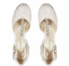 Pink Paradox Adelia Ivory Lace Block Heel Crystal T-Bar Shoes