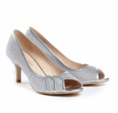 Pink Paradox Chester Silver Glitter Mesh Bridesmaid or Party Shoes