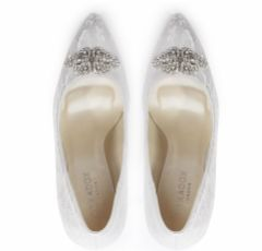 Pink Paradox Florida Ivory Lace High Heel Pointed Courts