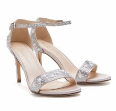 Pink Paradox Hampton Taupe Satin Pearl and Crystal Embellished Sandals