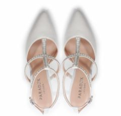 Pink Paradox Kimberley Ivory Satin Pearl and Crystal Strappy Court Shoes