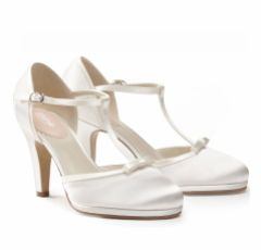 Pink Paradox Misty Dyeable Ivory Satin T-Bar Wedding Shoes