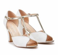 Pink Paradox Quentin Ivory Lace and Gold Block Heel T-Bars