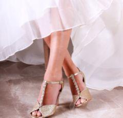 Pink Paradox Rosie Champagne Glitter Block Heel Crystal T-Bars