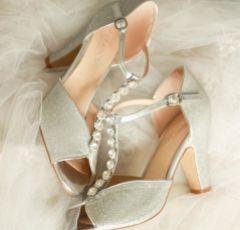 Pink Paradox Rosie Silver Glitter Block Heel Crystal T-Bars