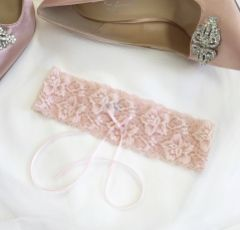 Purity Pink Delicate Lace Wedding Garter with Pearl Detail