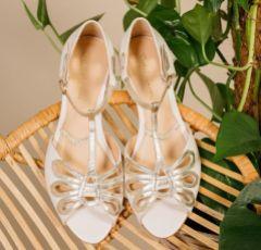 Rachel Simpson Eden Pearlised Ivory Leather Flat T-Bar Sandals